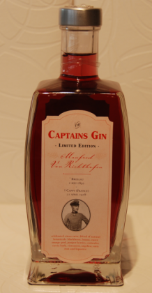 "Captains gin LIMITED EDITION 'THE RED BARON' 47% 0.5L. ( SLECHTS 420 FLESSEN ) ""HOME MADE""!!"